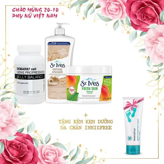 Combo Da Sáng Dáng Xinh  + Tặng Kem Dưỡng Da Chân Giữ Ẩm Innisfree Perfect Fresh Foot Cream