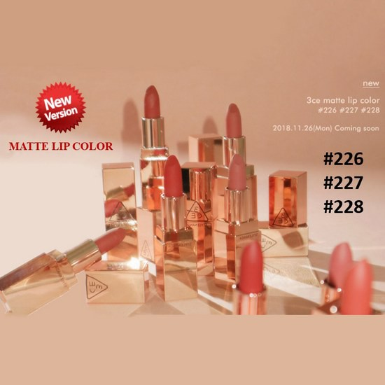 [BIG SALES] Son Thỏi Lì Mềm Mịn Môi 3CE Matte Lip Color New Version