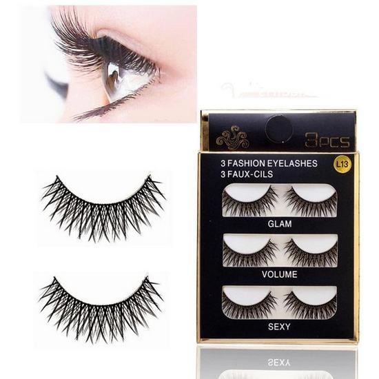 Lông Mi Chồn 3D 3PCS 3 Fashion Eyelashes 3 Faux-Cils