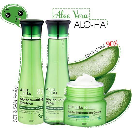 Bộ Dưỡng Trắng Sáng Da Chiết Xuất Lô Hội Aloe Vera Alo-Ha Set (3 sản phẩm)