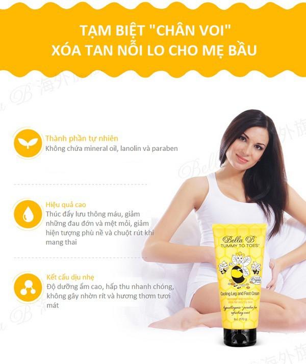 Kem Massage Chống Phù Nề Chân Cho Mẹ Bầu Bella B Tummy To Toes Cooling Leg And Foot Cream