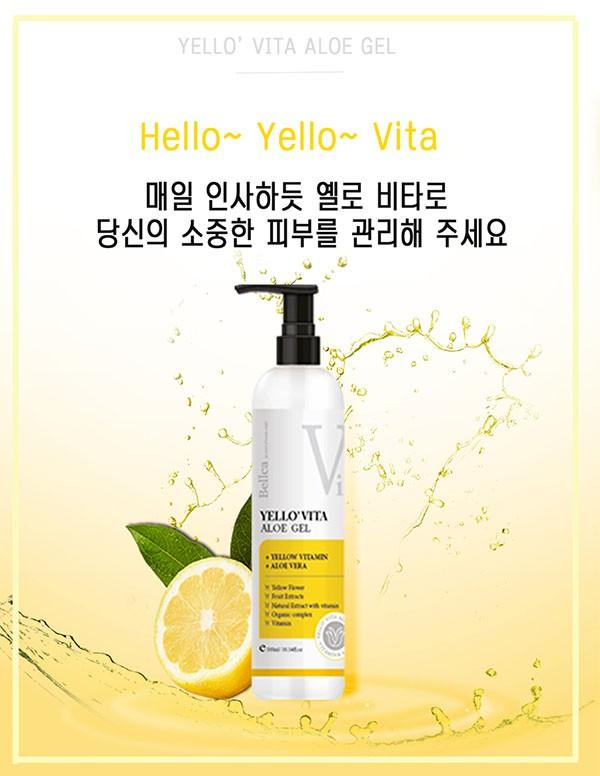 Gel Lô Hội Bổ Sung Vitamin Dưỡng Ẩm Và Làm Dịu Da Toàn Thân Bellca Yello' Vita Aloe Gel 300ml