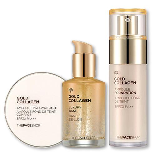 Bộ Phấn Trang Điểm Cao Cấp Làm Sáng Da Và Chống Lão Hoá The Face Shop Gold Collagen Ampoule Set SPF30/PA++