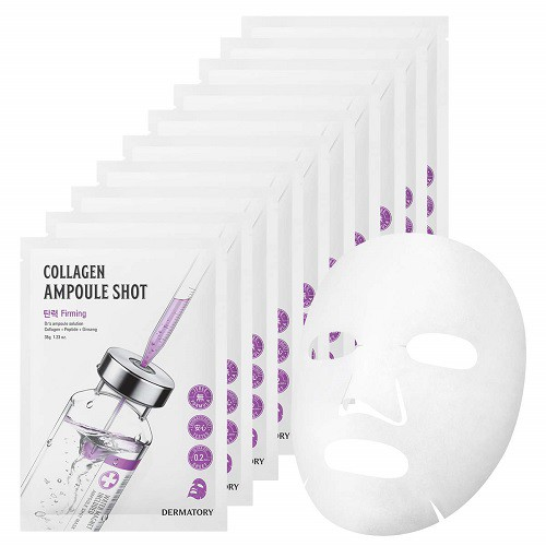 Combo 10 Mặt Nạ Giấy Bổ Sung Collagen Cho Da Dermatory Ampoule Shot Mask Collagen-Shot 35g