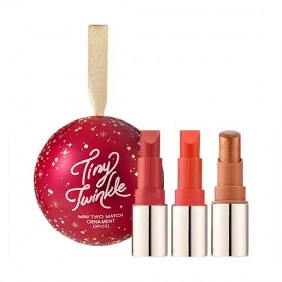Bộ Son Môi Mini Lên Màu Chuẩn Phiên Bản Mùa Noel 2018 Etude House Tiny Twinkle Mini Two Match Ornament (3PCS)