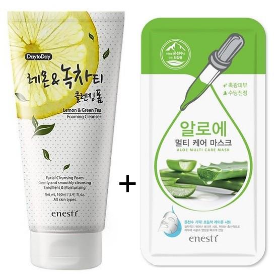 Sữa Rửa Mặt Loại Bỏ Bã Nhờn Chiết Xuất Chanh Và Trà Xanh Enesti DaytoDay Lemon And Green Tea Cleansing Foam 160ml