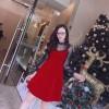 Đầm Xòe Đỏ Tay Dài Phối Lưới Ren