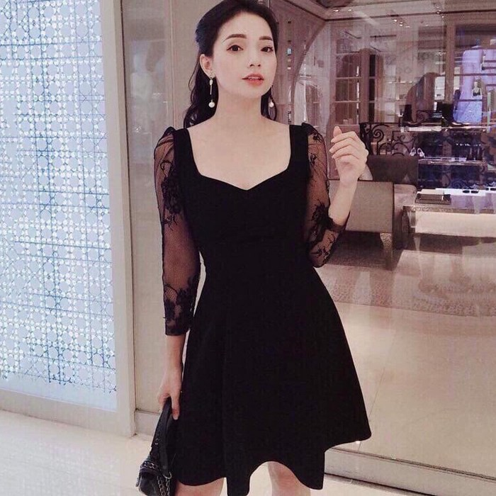 Đầm Xòe Tay Phối Ren