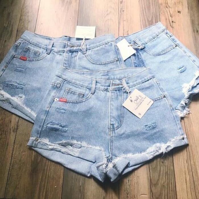 Quần Short Jeans Rách Gấp Gấu