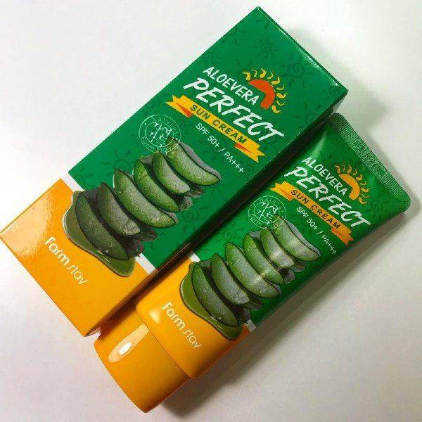 Kem Chống Nắng Chiết Xuất Lô Hội Và Vitamin E Farm Stay Aloevera Perfect Sun Cream SPF50+ PA+++ 70g