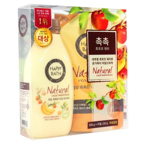 Bộ Sữa Tắm Hương Trái Cây Happy Bath Natural Real Moisture Body Wash