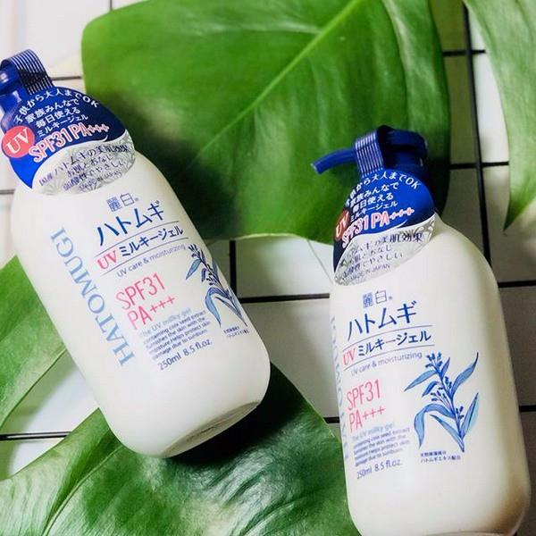 Sữa Dưỡng Thể Chống Nắng Hatomugi UV Milky Gel SPF31 PA+++ 250ml