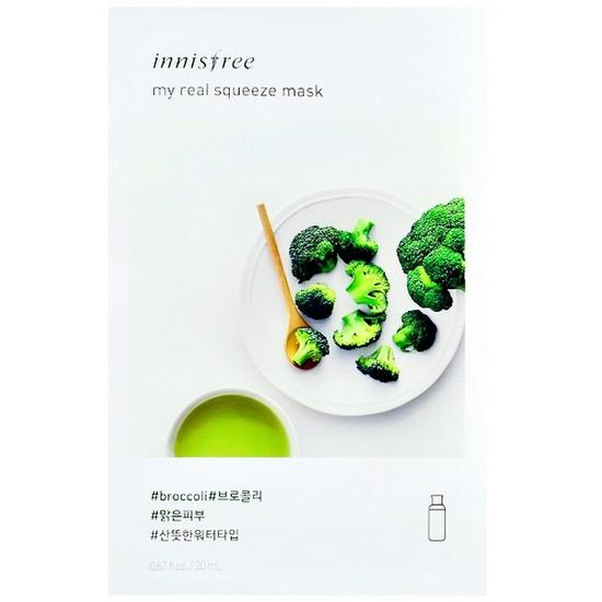 Combo 10 Mặt Nạ Giấy Làm Sáng Da Từ Bông Cải Xanh Innisfree My Real Squeeze Mask - Broccoli