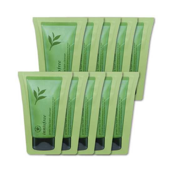 Combo 5 Gói Sữa Rửa Mặt Trà Xanh Innisfree Green Tea Cleansing Foam (Dùng Thử)
