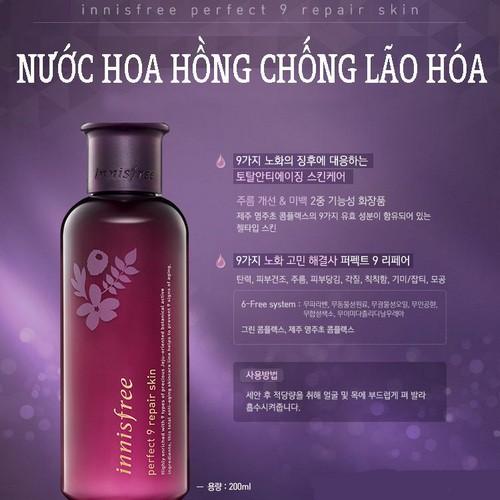 Nước Hoa Hồng Thần Kì Chống Lão Hóa Da Innisfree Perfect 9 Repair Skin 200ml