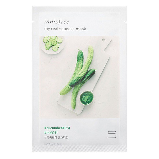 Combo 10 Mặt Nạ Dưa Leo Dưỡng Ẩm, Sáng Da Innisfree My Real Squeeze Mask - Cucumber
