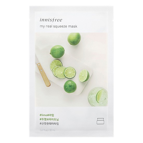 Combo 10 Mặt Nạ Giấy Làm Sáng Da Từ Chanh Innisfree My Real Squeeze Mask - Lime