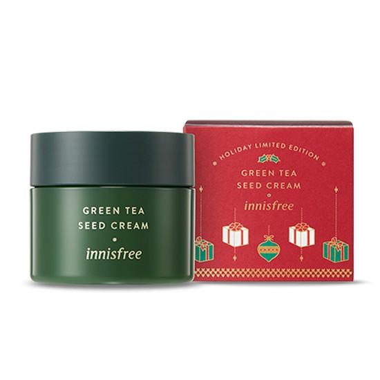 Kem Dưỡng Ẩm Chiết Xuất Từ Trà Xanh Jeju Phiên Bản Giới Hạn Dành Cho Giáng Sinh Innisfree Holiday Limited Edition Green Tea Seed Cream