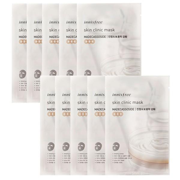 [Xả Kho Đón Tết] Combo 10 Mặt Nạ Miếng Siêu Mỏng Tái Tạo Da Innisfree Skin Clinic Mask – Madecassoside (Date 12/2021)