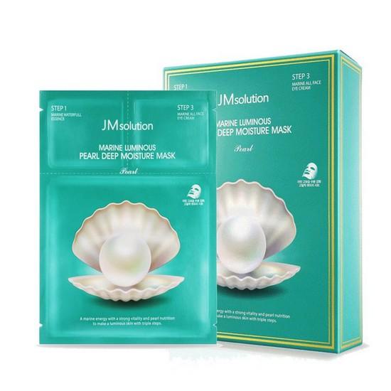 [BIG SALES] Mặt Nạ Trắng Da Ngọc Trai Có Serum Giảm Thâm Vùng Mắt Jm Solution Marine Luminous Pearl Deep Moisture Mask