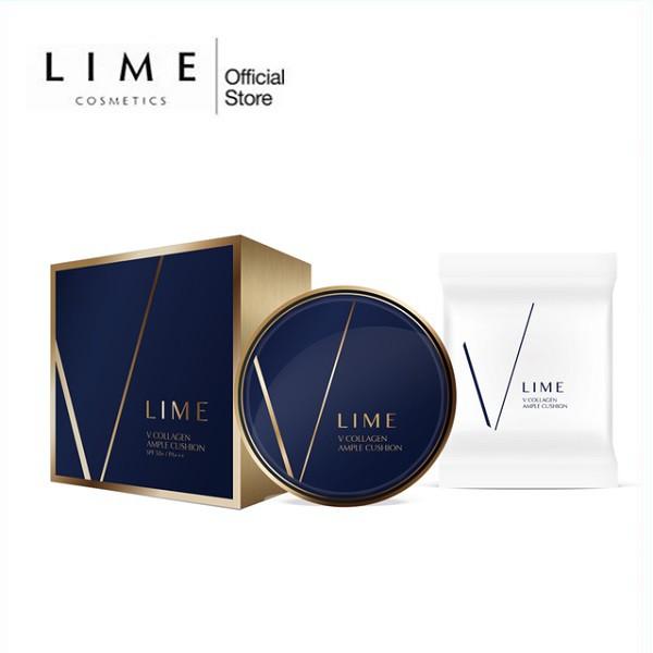 Bộ Phấn Nước Dưỡng Ẩm Và Chống Lão Hóa Lime V Collagen Ample Cushion Set SPF 50+ PA+++ (Date 2020)