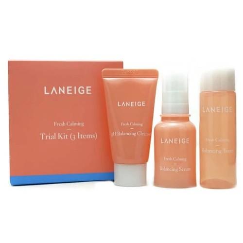 Bộ Dưỡng Dưỡng Ẩm Và Sáng Da Laneige Fresh Calming Trial Kit Dùng Thử (3 sản phẩm)