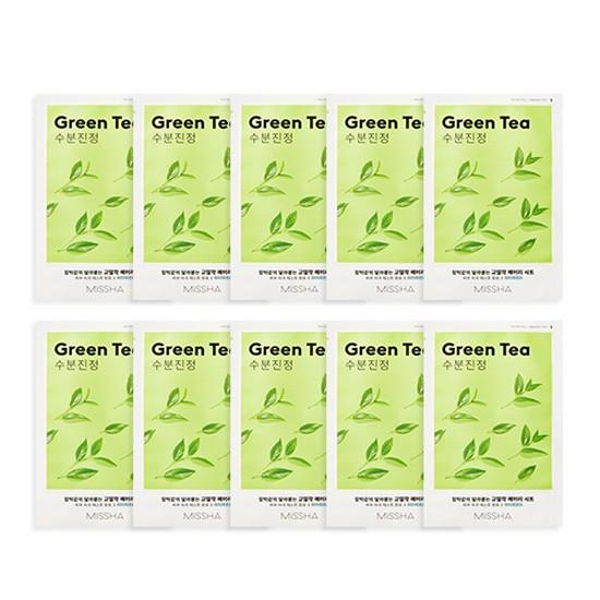 Combo 10 Mặt Nạ Dưỡng Ẩm Làm Dịu Da Tinh Chất Trà Xanh Missha Green Tea Airy Fit Sheet Mask