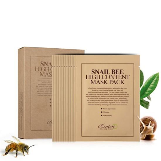 Mặt Nạ Giấy Chiết Xuất Từ Nọc Ong Và Ốc Sên Benton Snail Bee High Content Mask Pack