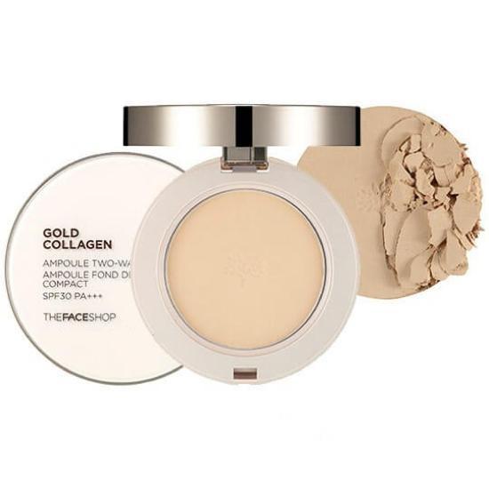 [BIG SALES] Phấn Phủ Nén Cao Cấp Làm Sáng Da Và Chống Lão Hoá The Face Shop Gold Collagen Ampoule Two-Way Pact SPF30/PA++ 9.5g
