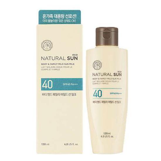 Sữa Chống Nắng Cho Body The Face Shop Natural Sun Body & Family Mild Sun Milk SPF40/PA++ 120ml (Phiên Bản Mới 2016)