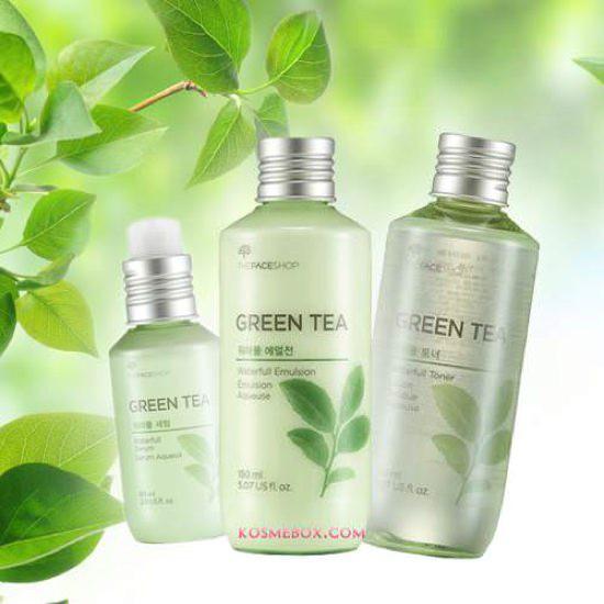 Bộ Dưỡng Da Kiềm Dầu Trà Xanh The Face Shop Waterfull Green Tea Set