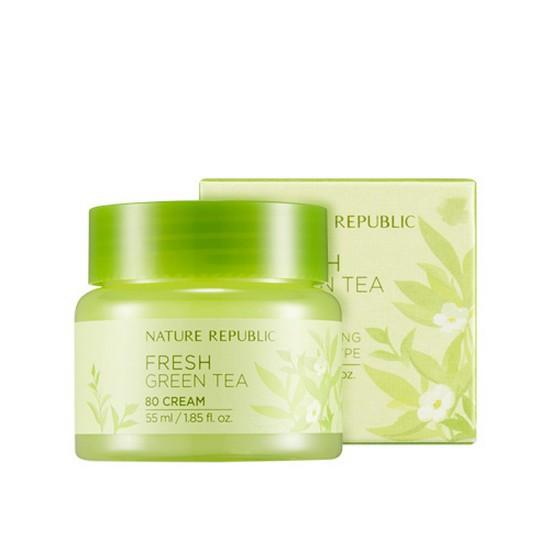 Kem Dưỡng Da Chống Lão Hóa Trà Xanh Nature Repulic Fresh Green Tea 80 Cream 55ml