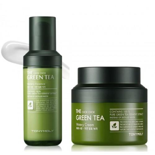 Bộ Dưỡng Da Chống Lão Hoá Từ Trà Xanh Lên Men Tonymoly The Chok Chok Green Tea Set (Cream Hủ Lớn)