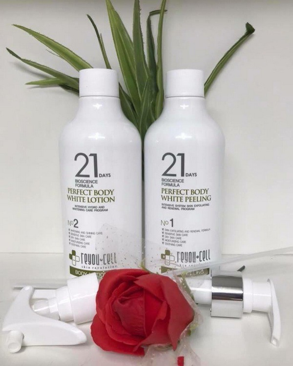 Bộ Dưỡng Trắng Body ReyouCell 21 Days Bioscience Formula Perfect Body White Peeling & Lotion 250ml