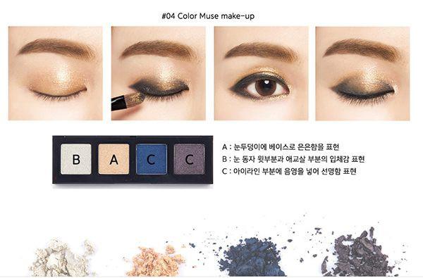 Hộp Phấn Mắt 4 Màu Muse Cá Tính Roroko Layering Four Eyes Color Muse Make Up (Bảng số 04)