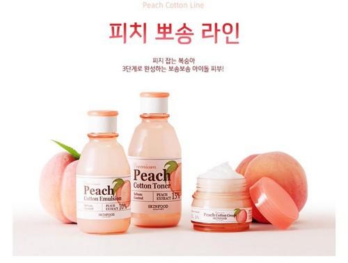 Bộ Dưỡng Kiềm Dầu Và Se Khít Lỗ Chân Lông Skinfood Premium Peach Cotton Line Set