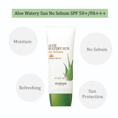 Kem Chống Nắng Kiềm Dầu Dạng Gel Skinfood Aloe Watery Sun No Sebum SPF50+ PA+++ 50ml