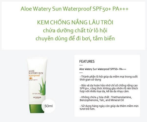 Kem Chống Nắng Chống Rửa Trôi Skinfood Aloe Watery Sun Waterproof SPF50+ PA+++ 50ml