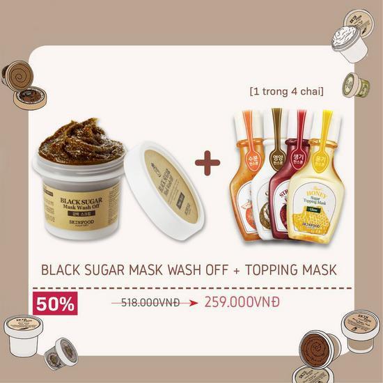 Combo Chăm Sóc Da Diệu Kì Mặt Nạ Dưỡng Tẩy Tế Bào Chết Skinfood Black Sugar Mask Wash Of + Topping Mask