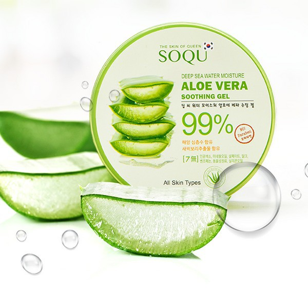 Gel Dưỡng Ẩm Da Chuyên Sâu 99% Chiết Xuất Lô Hội Jeju SoQU Deep Sea Water Moisture Aloe Vera Soothing Gel