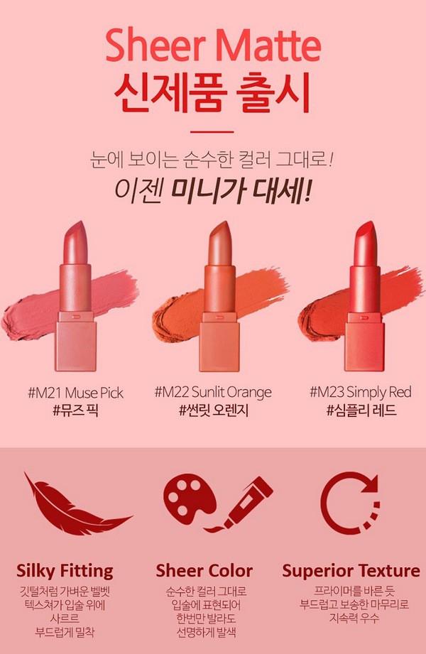 [HOT] Set 3 Thỏi Son Lì Thời Thượng Somebeau Sheer Matte Lipstick Mini