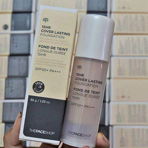 Kem Nền Che Phủ Suốt 15 Giờ The Face Shop 15hr Cover Lasting Foundation SPF50 PA+++ 35ml