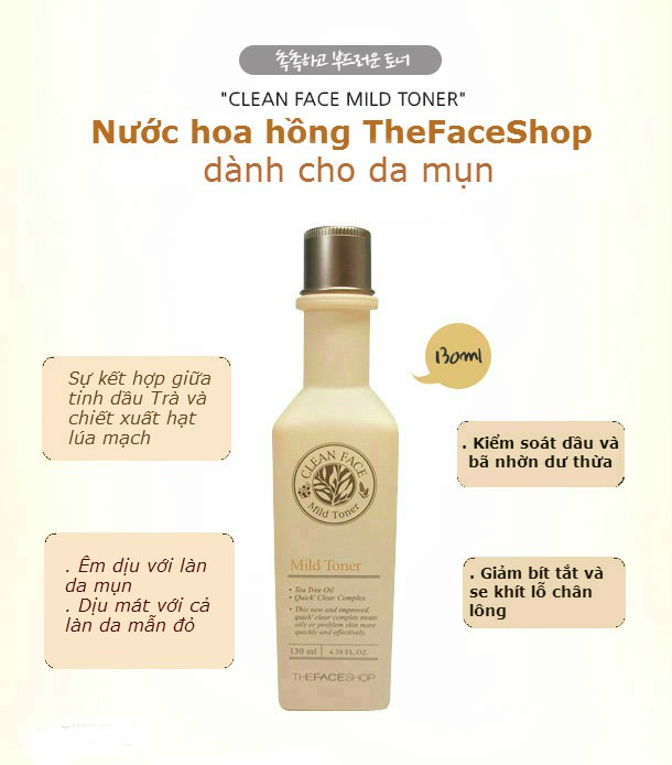 [BIG SALES] Nước Hoa Hồng Trị Mụn The Face Shop Clean Face Mild Toner 130ml