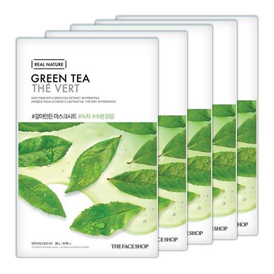 Combo 10 Mặt Nạ Trà Xanh The Face Shop Real Nature Mask Green Tea 20g