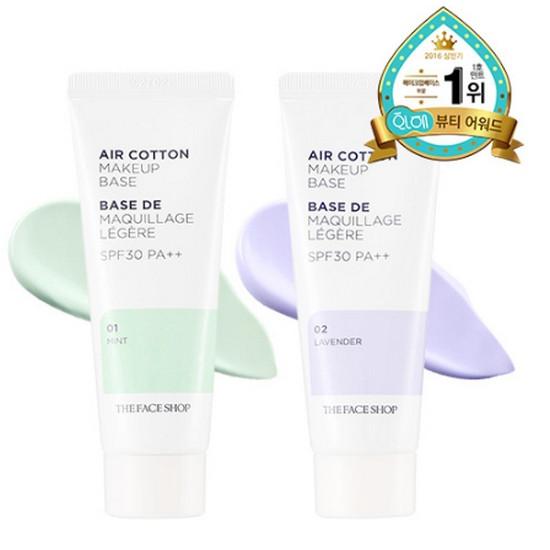 Kem Lót Kiềm Dầu Và Hiệu Chỉnh Tông Da The Face Shop Air Cotton Makeup Base SPF30 PA++ 40ml