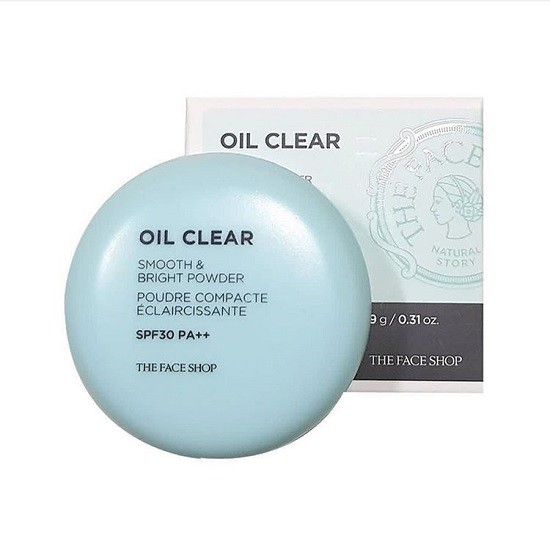 Phấn Phủ Nén Kiềm Dầu The Face Shop Oil Clear Smooth & Bright Powder SPF30/PA++ 9g
