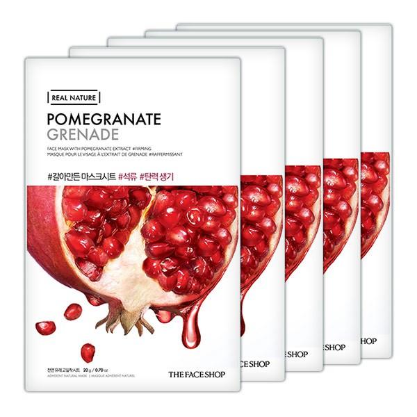 Combo 10 Miếng Mặt Nạ Lựu Cấp Nước Chống Lão Hoá The Face Shop Real Nature Pomegranate Mask Sheet 20g