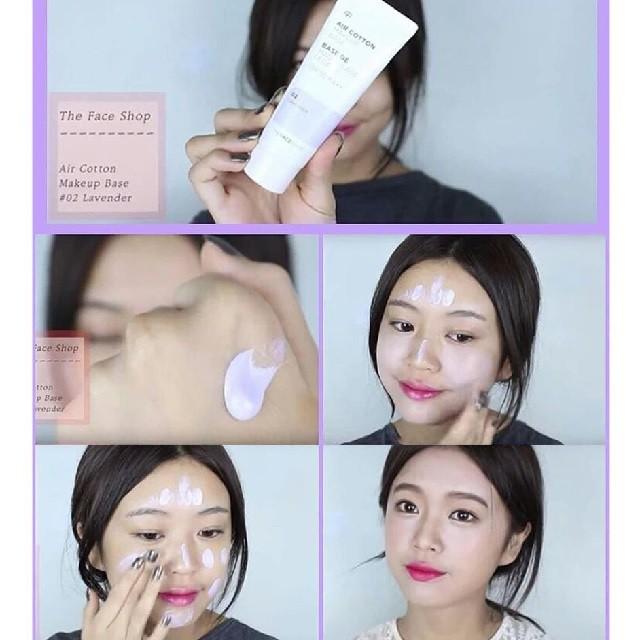 [Đồng giá 55K] Kem Lót Kiềm Dầu Và Hiệu Chỉnh Tông Da The Face Shop Air Cotton Makeup Base SPF30 PA++ 35ml (#02 Lavender - Màu Tím)