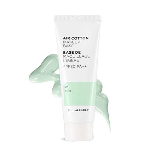 Kem Lót Kiềm Dầu Và Hiệu Chỉnh Tông Da The Face Shop Air Cotton Makeup Base SPF30 PA++ 35ml (#01 Mint - Màu Xanh)