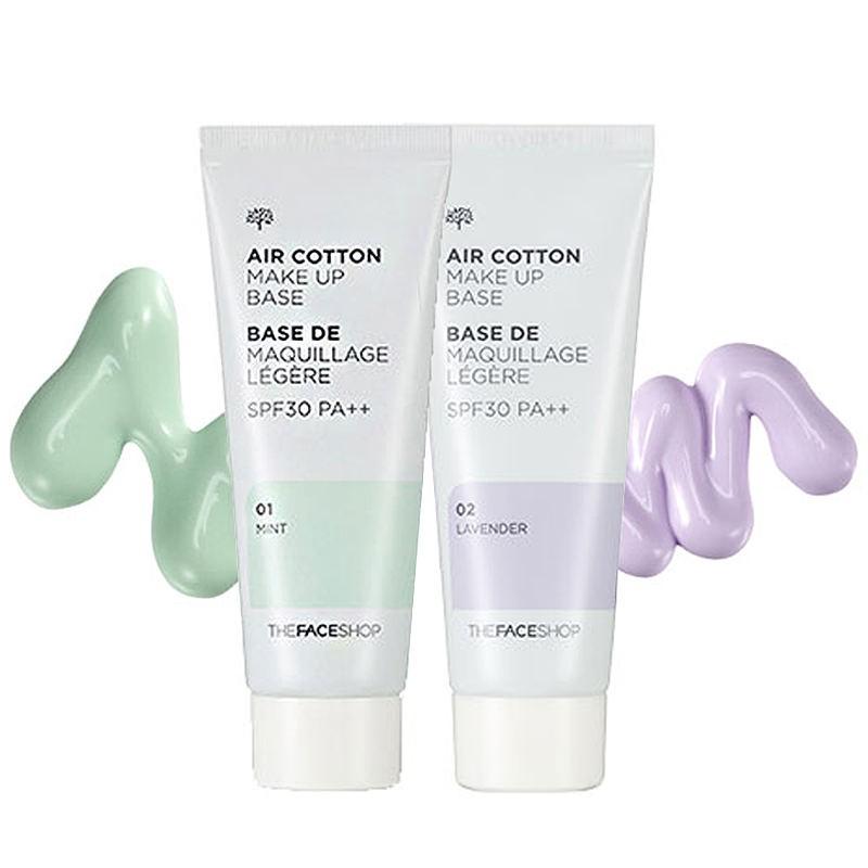 Kem Lót Kiềm Dầu Và Hiệu Chỉnh Tông Da The Face Shop Air Cotton Makeup Base SPF30 PA++ 35ml